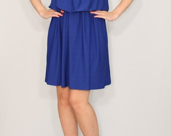 Cobalt blue bridesmaid dress Short bright blue dress Party dress
