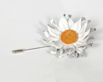 FLOWER LAPEL PIN Mens lapel flower stick pin mens gift leather White Flower Grooms Boutonniere mens Accessories elegant pin Wedding Day Love