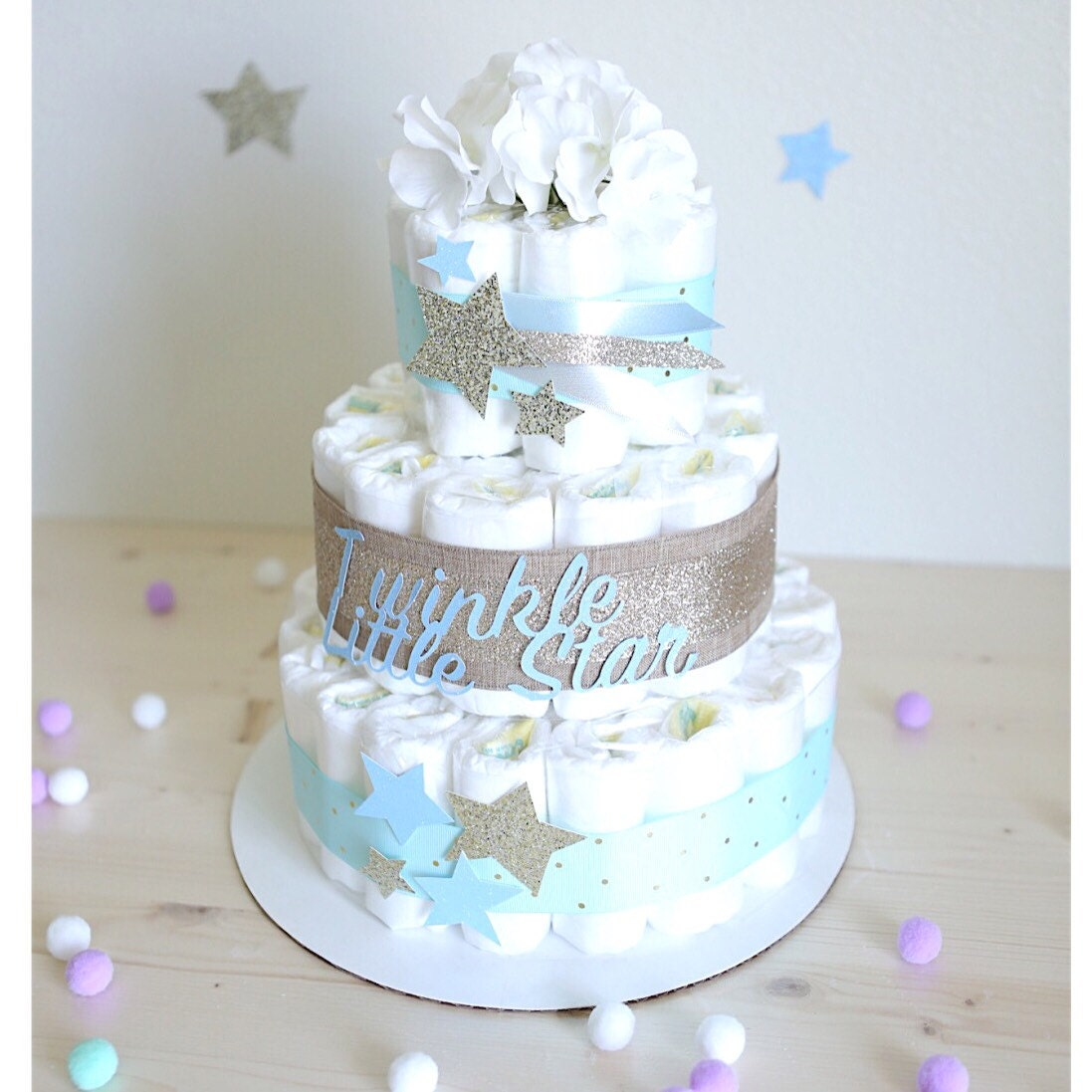 Twinkle Little Star Diaper Cake for baby Boy / Gold Silver ...