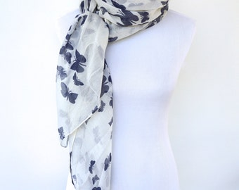 Butterfly Print Scarf, White Blue Scarf, Navy Womens Viscose Scarves, Fashion scarf, Boho scarf, Scarf Shawl, Women's Scarf, Gifts For Her