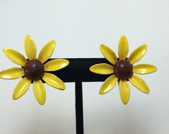 Yellow Poppy Flower Clip on Earrings 9486