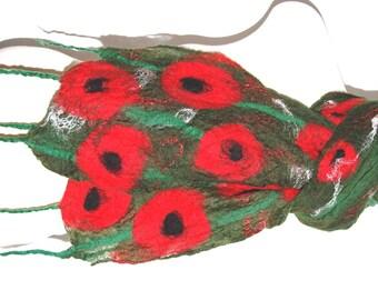 Red Poppy Scarf Felted Brooch Silk Scarf Nuno Felt Scarf Silk Shawl Felted Shawl Silk Wrap Womens Scarves Nuno Felting Green Red Poppy Shawl