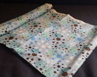 "Blue & Brown Funky Fabric Remnant, 22"" x 33"" W"