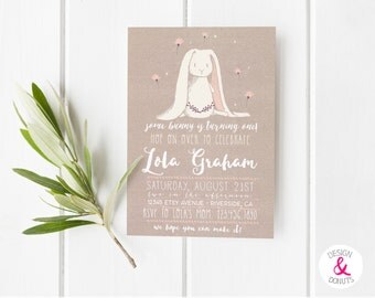 Some Bunny Birthday Invitation, Girls, Printable Easter, Some Bunny Is Turning One, 1st Birthday Invite [250]
