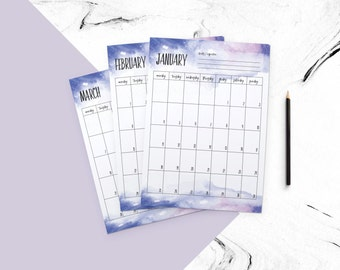 Creative 2017 planner + weekly planner + daily planner (water corlobackground)  printable plalner / personalized planner / 2016 calendar