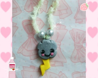 Kawaii storm cloud Necklace