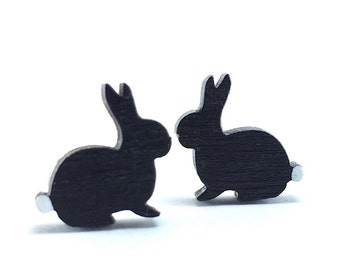 Bunny Earrings/ Easter Earrings/ Bunny Studs/ Wood Rabbit Earrings/ Cotton Tail/ Woodland Earrings/ Easter Earrings/ Easter Rabbit/