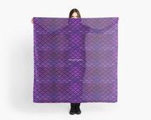 Purple & Blue Mermaid Scales Scarf, Shawl, Wrap