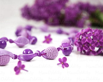 Lilac flower Purple necklace Crochet jewelry Violet and purple Flower necklace Crochet necklace Spring flowers Lilac color Long necklaces