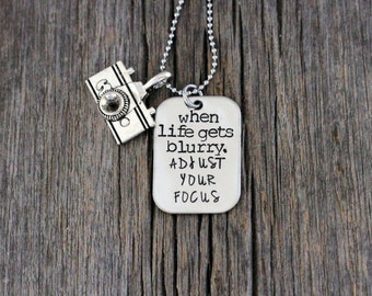 Photographer's Pride necklace, hand stamped camera necklace - when life gets blurry, adjust your focus / photog necklace