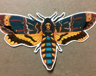 Death's Head Hawk Moth Sticker - one vinyl sticker