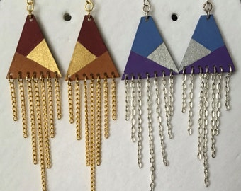 Wooden Triangle Chain Dangle Earring