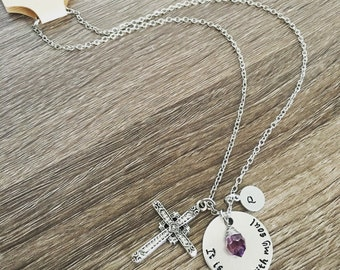 It is well with my soul -hand stamped necklace / birth stone / cross charm / personalized / Soul / Cross necklace / religious jewelry gift