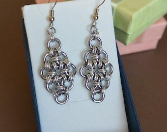 Chainmail Japanese 12-1 Diamond Earrings