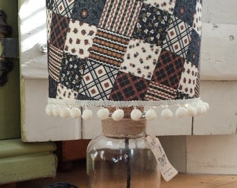 Lampshade, super cute patchwork effect, 8'' drum shade, brown and cream with red and dark blue accents,table lamp shade,fabric lamp shade