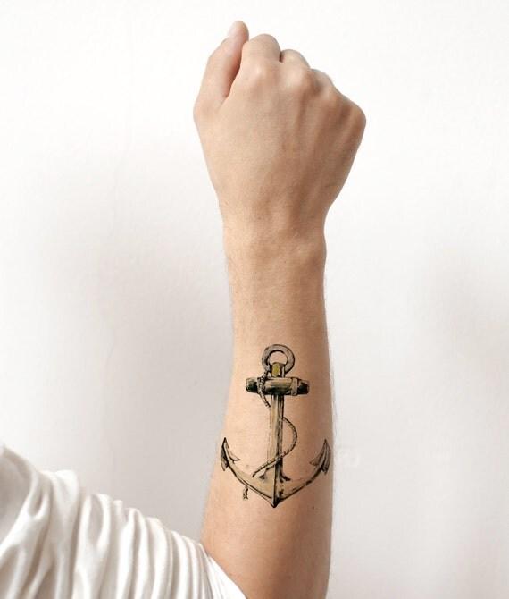 Articles similaires ancre de bateau vintage style tatouage temporaire poignet cheville corps - Tatouage ancre cheville ...