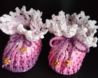 Baby booties pink to plum gradient crochet cotton Beyond Fashion