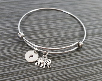 Elephant Bangle - Tiny Elephant Charm Bracelet - Expandable Bangle - Charm Bangle - Totem Bracelet- Initial Bracelet - Personalized Bracelet