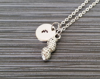 Silver Peanut Necklace - Pewter Charm Necklace - Personalized Necklace - Custom Gift - Nut Necklace - Peanut Jewelry - Allergy Necklace