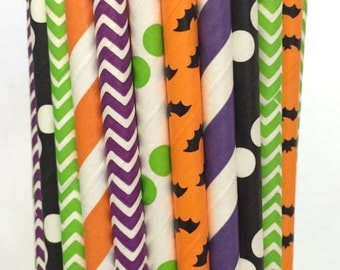 2.85 US Shipping -Halloween Paper Straws- Halloween Straws - Cake Pop Sticks - Drinking Straws - Orange and Black