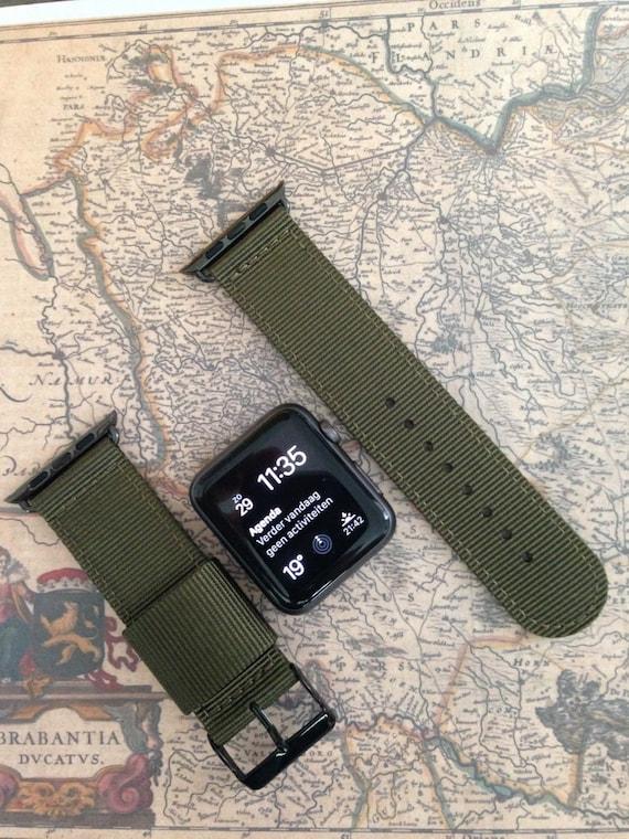 Apple watch original, series 1, series 2 band: Nato 2-piece nylon keeper (army green). Matching adapter & buckle (gun/gold/silver/rose gold)