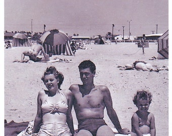 Vintage Beach Photo Family Swimsuit Old Black And White Snapshots Photographs 1950s Old Photos Reprint X051
