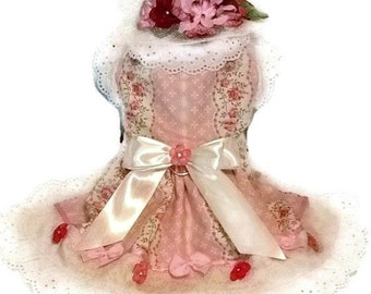 Cottage Chic Small Dog Harness Dress Adorable Pink Buttons & Bows Eyelet Trim So Girly!