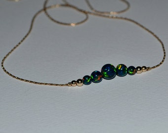 OPAL NECKLACE // Tiny Opal Necklace Gold - Green Blue Opal Ball Necklace - Dot Necklace - Single Bead Necklace - Opal Bead Necklace