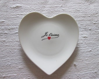 Valentine heart decorative plate / flat heart I love you