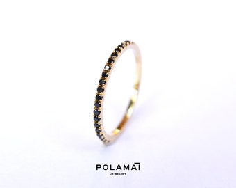 Black Diamond Eternity Ring 18k 14k Half 3/4 or Full Black Diamond Eternity Band . Wedding Band Micro Pave Ring . Yellow White Rose Gold