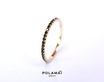 Black Diamond Eternity Ring 18k 1.4mm Full or Half Black Diamond Eternity Band . Wedding Band Micro Pave Ring . Yellow White Gold. Polamai