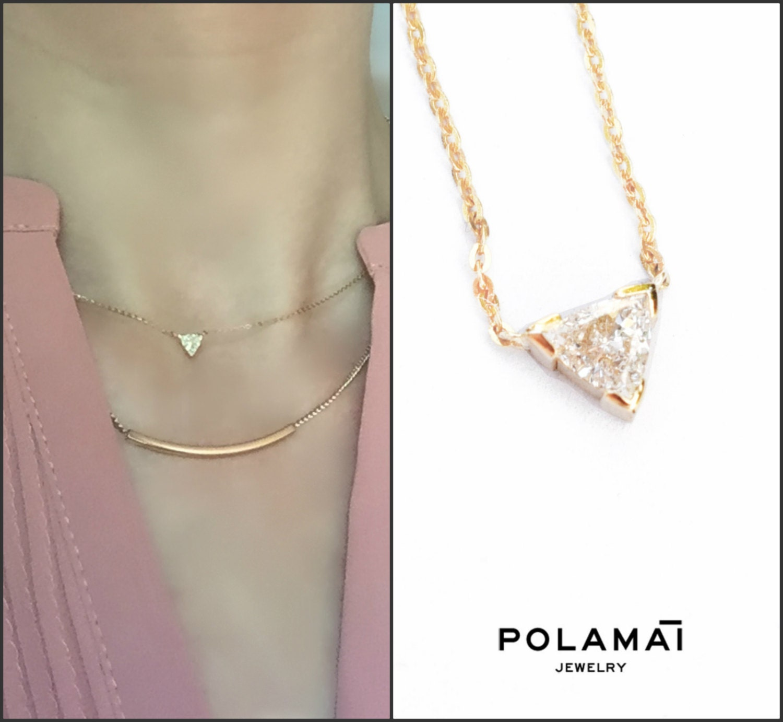 Trillion Cut Diamond Solitaire Necklace 18k Gold 0 10 To