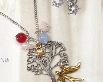 Silver Branch Tree Gold Bird Gemstones Shabby Chic Charm Necklace