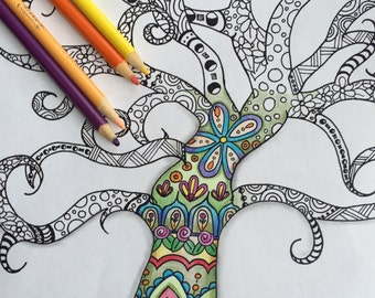 Instant down load,Adult and Children Coloring page, Digital, Zentangle Inspired, Hand Drawn, Tree Doodle Art