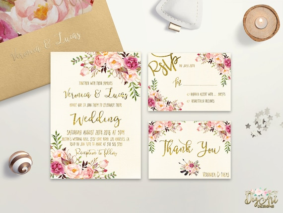 Floral Wedding Invitation Printable Wedding Invitation Suite Boho Chic