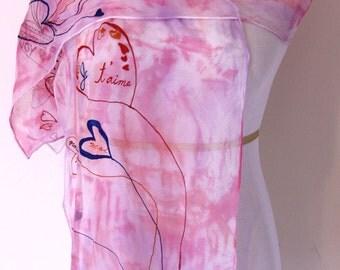 "Heart pink scarf, 14"" X 72"", Handmade Silk Scarf, Hand Painted Silk Scarf, Scarves, Chiffon Silk, Valentine's Day"