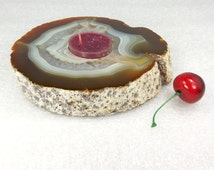 Agate Slice Candle Holder - Natural Raw Handmade Druzy Crystal W/ Red Tea Light (AG2D) Large Geode Freeform Display Piece