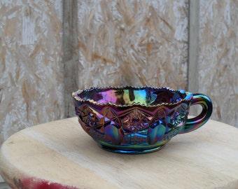 Carnival Glass, Blue Carnival Glass Nappy