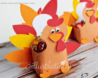 Thanksgiving Turkey Favor Box - Turkey Paper Craft - Thanksgiving Printable PDF - Turkey Printable Paper Craft- Thanksgiving Party Favor
