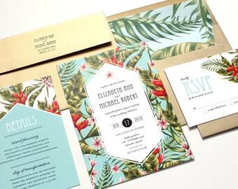 Tropical Wedding Invitation, Destination Wedding Invitation, Beach Wedding Invitations, tropical flowers, palms - DEPOSIT