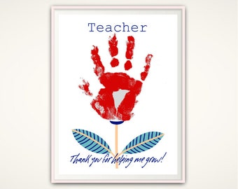 Thank You For Helping Me Grow, Teacher PRINTABLE, Teacher Gifts From Kids, Teacher Appreciation Gift, Personalized, DIY Handprint Art. Print