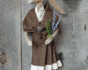 Scottish Hare Rabbit Girl Primitive Soft Sculpture Doll Arisad