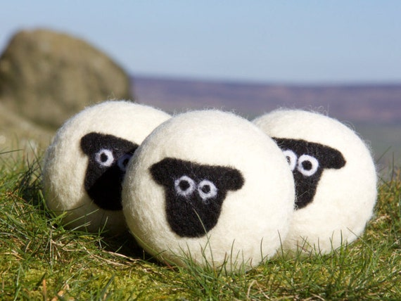 Wool dryer balls, pack of 3 Suffolk sheep felted laundry balls, reusable, chemical free laundry, natural fabric softener