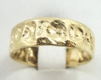 NEW Solid 10K Gold Handmade Deep Hammer Texture Band Ring, 6mm, Sizes 3 - 12