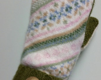 Mittens from sweaters.  Soft pinks, creams and greens.  Warm fleece lining.  Gifts for her under 20!