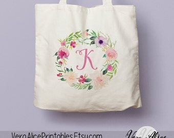 Personalized Natural Canvas Tote, Floral Tote, Custom Tote Bag, Monogram Tote, Bridesmaid Gift, Tote Bag Gift, Floral Bag, Flower Beige Tote