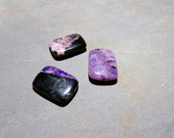 3 Charoite beads, rectangle shape, top quality, purple beads, Russia, rare, metaphysical, beading supply