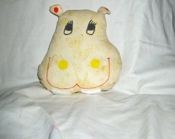"""Hippo Pillow 8"""" x 7"""" with Pocket on Back"""