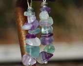 Fluorite Semi Precious Stone Dangle Earrings ~ Rainbow Coloured Stones ~ Gift for Mom ~ Birthday Gift ~ Clear Stones