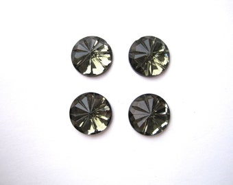 Vintage NOS Round Cabochons Olive Faceted Glass 15mm Round Cabochon (Qty 6) foil back cabochons